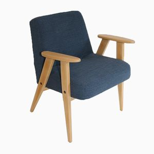 366 Vintage Blue Wool Easy Chair by Jozef Chierowski, 1970s
