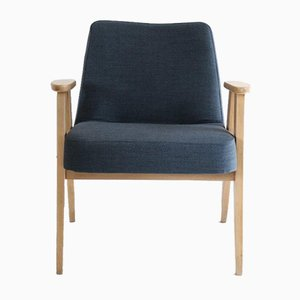 Vintage 366 Blue Wool Easy Chair by Jozef Chierowski, 1970s