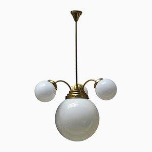 Lámpara de araña vintage con tres brazos y globos, años 30