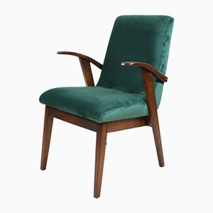 Vintage Green Velvet Easy Chair by Mieczyslaw Puchala, 1970s