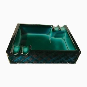 Vintage Art Deco Ashtray in Malachite Glass, 1930s