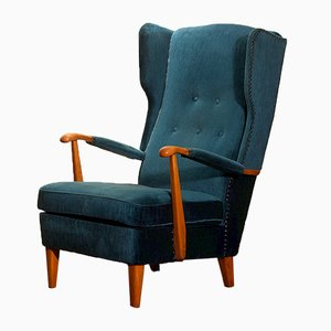 Petrol Rib Velvet Model 77 Wingback Chair from Knoll, 1950s