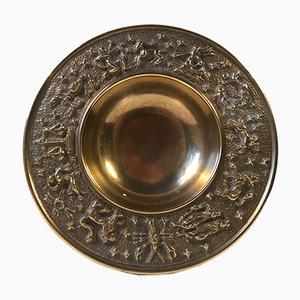 Cuenco Zodiac danés vintage de bronce de Nordisk Malm, años 40