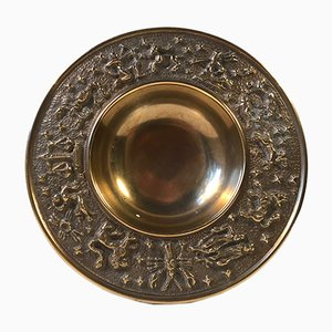 Vintage Danish Bronze Zodiac Bowl from Nordisk Malm, 1940s