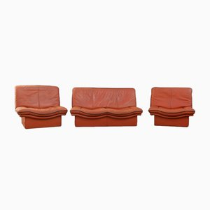 Cognac Leather Gabbiano Sofa & 2 Chairs from Lev&Lev, 1980s, Set of 3