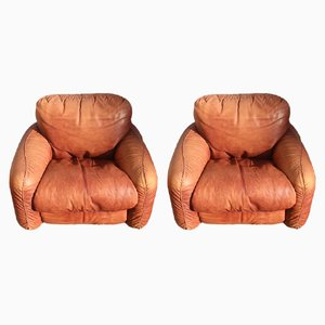 Cognac Leather Lounge Chairs by Arrigo Arrigoni for Busnelli, 1970s, Set of 2