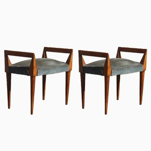 Mid-Century Wood and Velvet Stools, 1950s, Set of 2