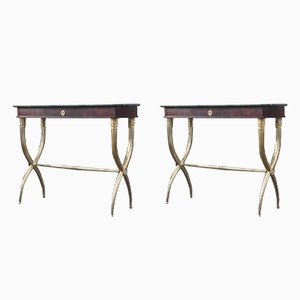 Italian Brass Rosewood and Black Breccia Marble Console Tables, 1950s, Set of 2