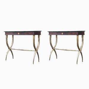 Tables Console en Laiton en Palissandre et Brèche Noire en Marbre, Italie, 1950s, Set de 2