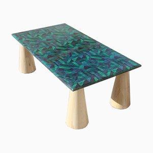 Mesa de centro italiana de pergamino de colores y madera, años 80