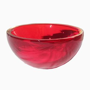 Vintage Ruby-Coloured Murano Glass Round Bowl from Seguso, 1960s