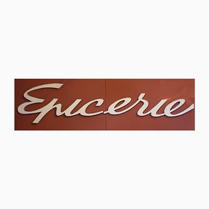"Vintage French Metal ""Epicerie"" Placard, 1950s, Set of 2"