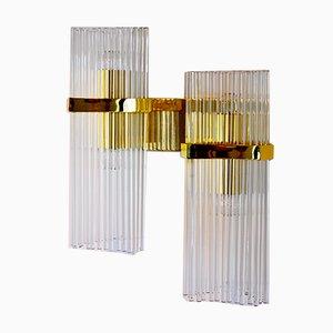 Vergoldete goldene doppelte Wandlampe von Gaetano Sciolari für Lightolier