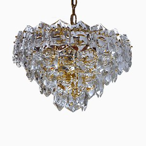 Golden Chandelier with 50 Crystals from Kinkeldey, 1960s