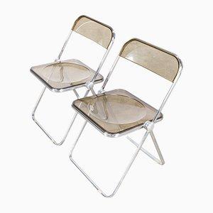 Plia Folding Chair by Giancarlo Piretti for Castelli, 1970s, Set of 2