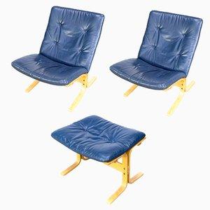 Siesta Sessel mit Fußhocker von Ingmar Relling für Westnofa, 1970er, 2er Set