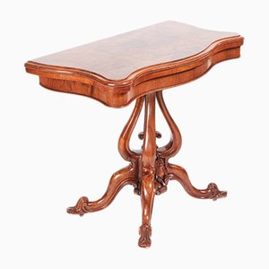 Table à Jeux de Cartes Victorienne en Noyer, 1850s