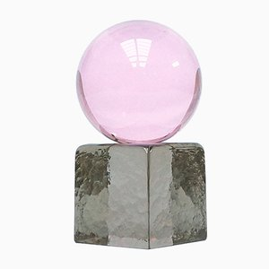 OH MY Mini Glass Sculpture in Pink with Smoke Base by Maria Gustavsson & Strups for Swedish Ninja