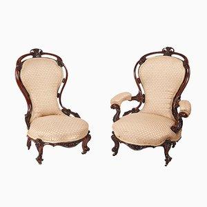 Sedie vittoriane in legno di noce intarsiato, set di 2