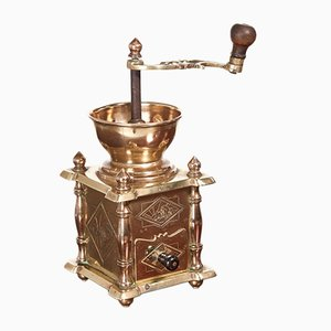 Victorian Brass Coffee Grinder, 1880s