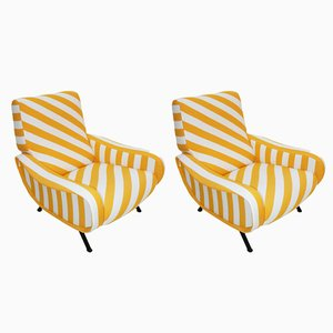 Cotton & Black Metal Lady Armchairs by Marco Zanuso for Arflex, 1960s, Set of 2