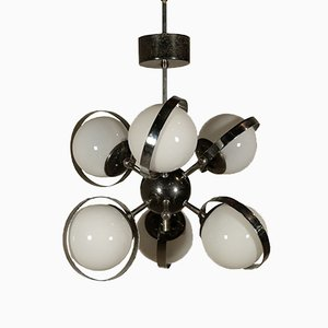Italian Chromed Aluminum Ceiling Lamp with Milk Glass, 1960s