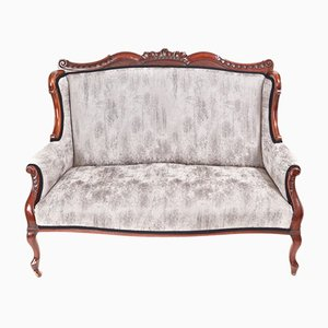 Victorian Carved Mahogany Settee, 1880s