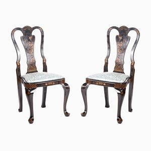 Antique Chinoiserie Lacquered Side Chairs, Set of 2