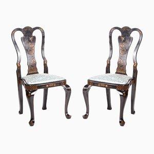 Lackierte antike Chinoiserie Beistellstühle, 2er Set