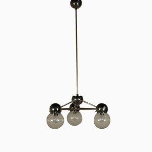 Lámpara de techo italiana de metal cromado y vidrio marrón, años 60