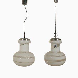 Lampade da soffitto vintage in metallo e vetro soffiato, set di 2
