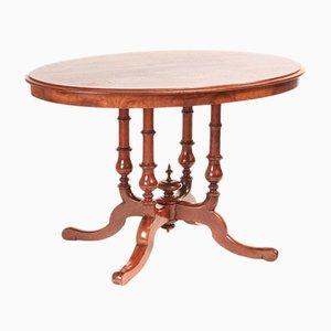 Tavolo ovale vittoriano in legno di noce massiccio, metà XIX secolo