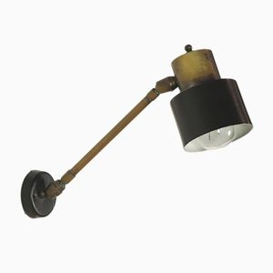Mid-Century Adjustable Brass & Lacquered Aluminum Wall Lamp