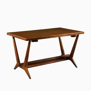 Tavolo da gioco in impiallacciatura di quercia e vetro, Italia, anni '50