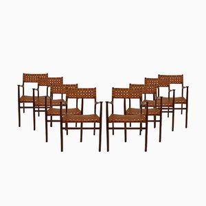 Moderne Mid-Century Stühle mit Gestell aus Palisander & Sitzgeflecht aus Leder von Jens Risom, 1950er, 8er Set