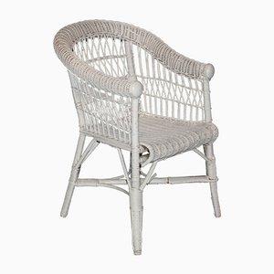 Chaise pour Enfant Blanche Antique en Osier