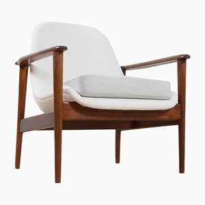 Scandinavian Modern Teak & White & Grey Fabric Lounge Chair from OPE, 1960s