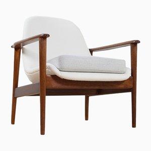 Scandinavian Modern Teak & White & Grey Fabric Lounge Chair from OPE, 1960s
