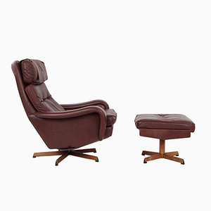 Vintage Danish Lounge Chair & Ottoman by Madsen & Schübel
