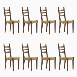 Vintage French Chairs, 1940s, Set of 8