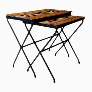 Französische Beistelltische mit Gestell aus Eisen & Tischplatten aus Bambus & Fliesen, 1960er, 2er Set