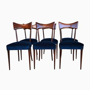 Mid-Century Italian Mahogany Stained Beech Dining Chairs, 1950s, Set of 6