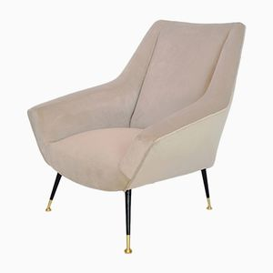 Mid-Century Italian Cream Velvet Armchair on Brass Feet, 1950s