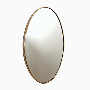 Mid-Century Italian Wall Mirror with Brass Frame, 1950s