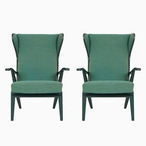 Danish Solid Green Lacquered Ash Lounge Chairs from Søren Willadsen, Set of 2