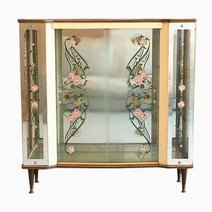 Englischer Vitrinen- oder Barschrank aus Glas, 1950er
