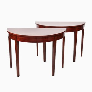 Antique George III Mahogany Demi-Lune Console Tables, Set of 2