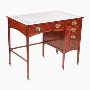 Edwardian Freestanding Mahogany Inlaid Pedestal Desk
