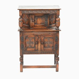 Small Carved Oak Cupboard, 1900s