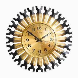 Mid-Century Brass Wall Clock from Weimar